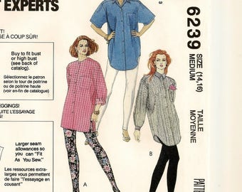 """An Oversized, Long or Short Sleeve Shirt and Pull-On Leggings Pattern for Women: Uncut - Size Medium (14-16), Bust 36"""" - 38"""" ~ McCall's 6239"""