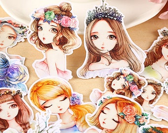 13pcs, Beautiful girl Stickers, Wreath, flowers, floral, fashion, pretty, cute girl, Planner Sticker, kawaii stationary, Scrapbook Sticker