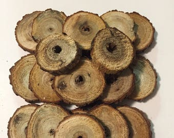 Set of 20 Small Sassafras Wood Slices With Center Hole