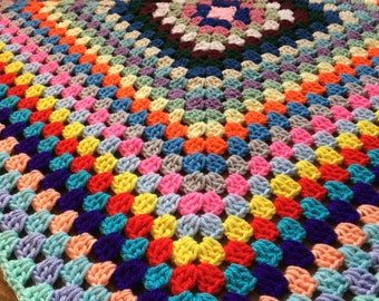Baby Blanket 34x34 Soft Acrylic Granny Square Crochet, baby Afghan, car seat, stroller, security blanket, receiving blanket. Ready to ship
