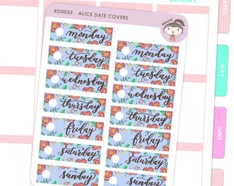 Date Covers Alice Floral / Planner Stickers