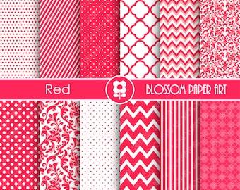 Red Scrapbooking Paper, Red Textures Digital Paper Pack, Red Scrapbooking Digital Paper - 1884