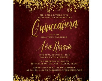 Quinceañera Invitations - Deep Red & Gold Printed Quinceañera Invitations - 15th Birthday Party Invites - Burgundy and Gold