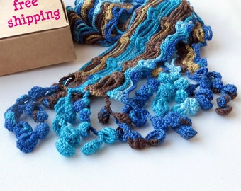 Navy blue scarf, Hand knit scarf, Lightweight scarf, Scarfs for women, Turquoise scarf, Crochet scarf fringe, Striped scarf, Lace scarf.