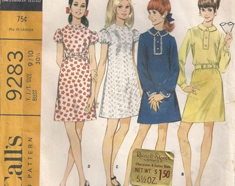 Dart Fitted A Line Dress With Collar Size 9 10 Vintage Used Sewing Pattern 1968 McCalls 9283