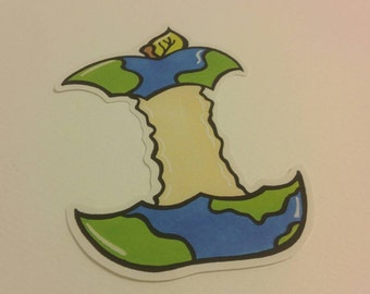 Apple core Earth sticker