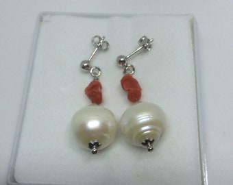 Coral earrings and freshwater pearls, 925 sterling silver
