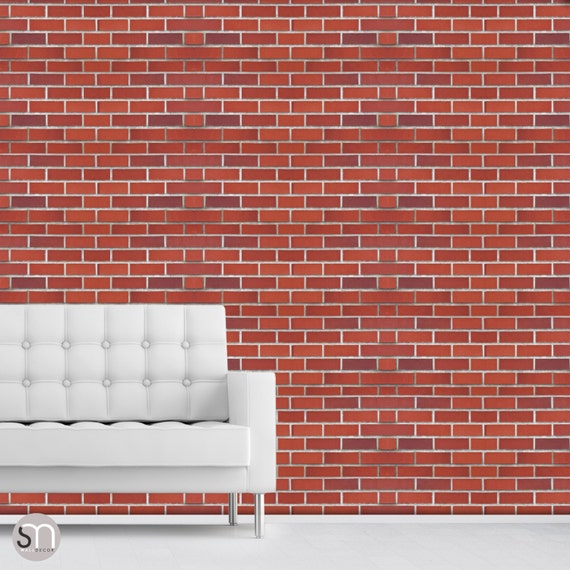 RED BRICK WALL Self Adhesive Removable Wallpaper By