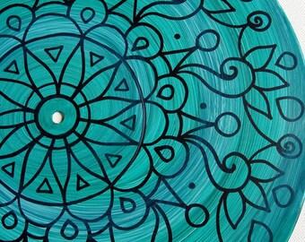 Dark Turquoise Turntable Art - Original Mandala Painting on Vinyl Record in Turquoise/Teal/Aqua  - Psychedelic Geometric Design