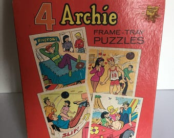 Vintage Archie Comics Frame Tray Puzzle Set of Four 1972