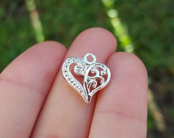 10 Hollow Heart Charms, Silver Plated heart, heart charm, heart pendant, valentine's charm B34515