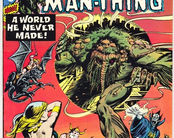 Giant-Size Man-Thing 3, a Swamp Horror comic. Adventure into Fear, Halloween, scary art by Kane, Acala. 1975 Marvel Comics in VF+ (8.5)