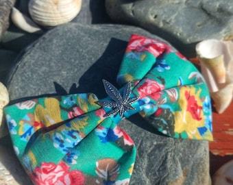 Floral Fabric Cannabis Leaf Hair Bow.