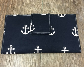 Navy and Coral Anchor Wallet (new fabric shown)