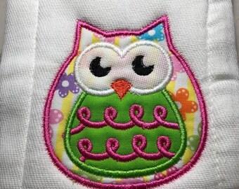 Personalized Owl Burp Cloth
