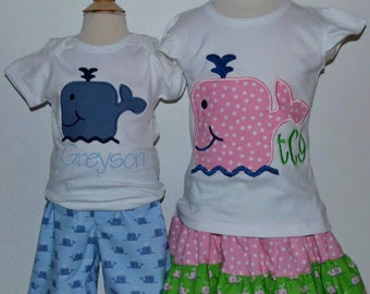 Personalized Whale Applique Shirt or Onesie Girl