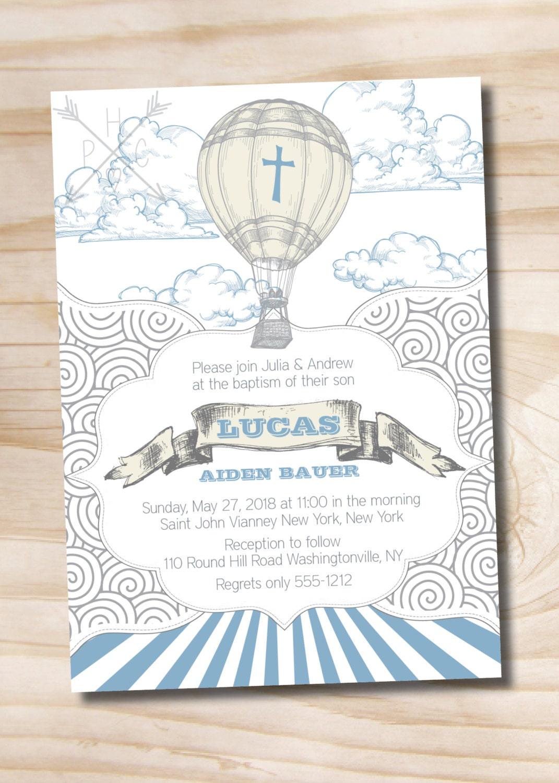 Up Up and Away Hot Air Balloon Baptism Invitation Printable