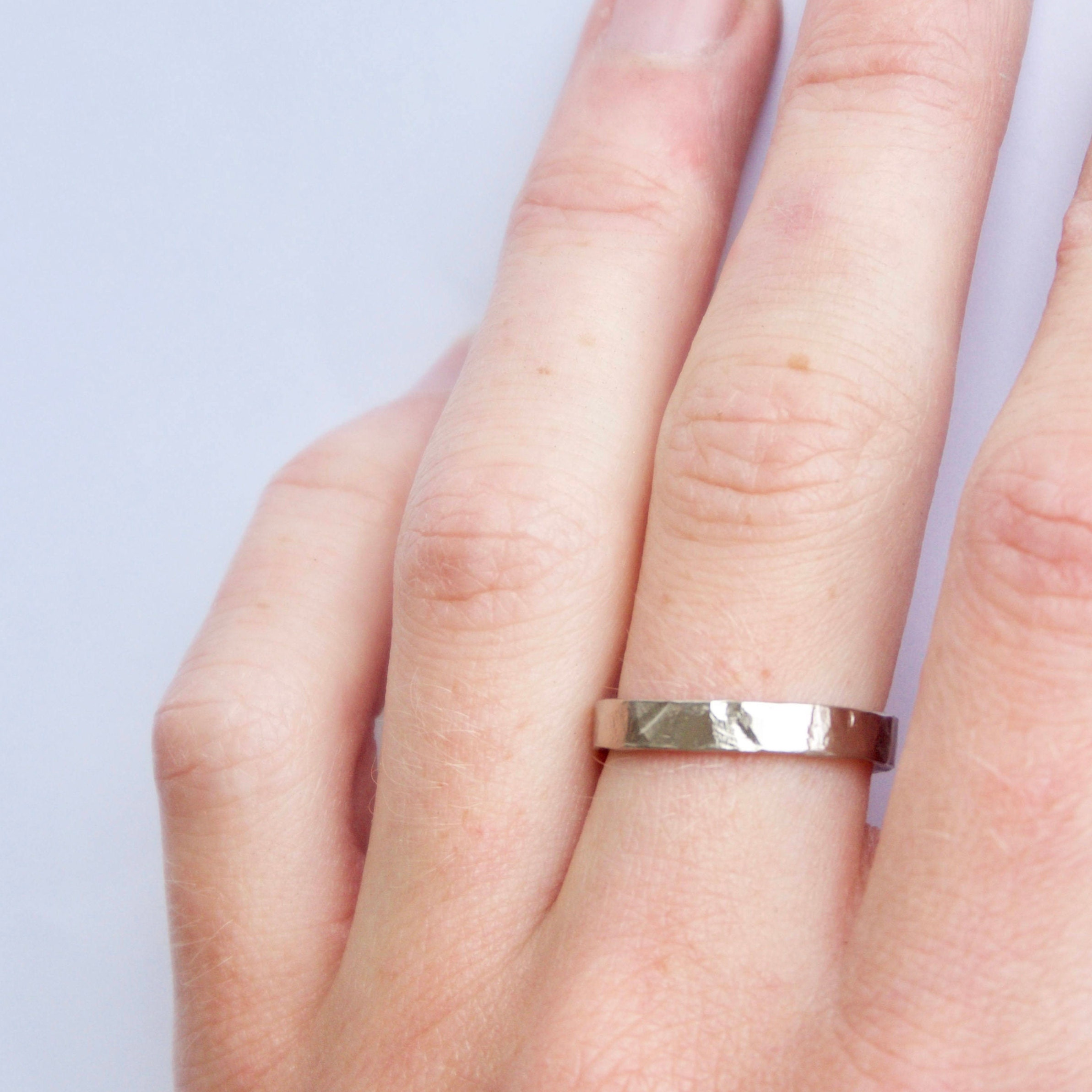 White Gold Hammered Ring 18 Carat Flat Hammered Textured