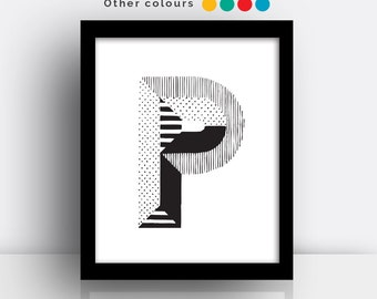 Letter P print - hand drawn typeface
