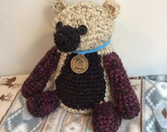 Yarn teddy bear/ handmade crochet stuffed animal/ baby child birthday present/ Panda/ large black and white