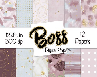 Boss DIGITAL PAPER Modern Abstract Marble Gold Bows Flowers