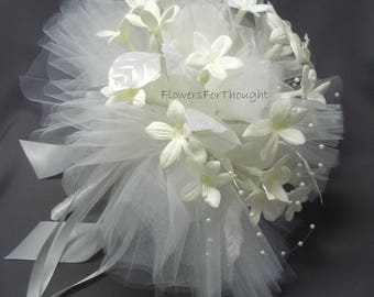 Stephanotis Wedding Bouquet, Jasmine Flower Bride Posy, all white Winter wedding