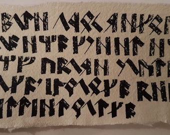 Dwarven runes on cotton paper