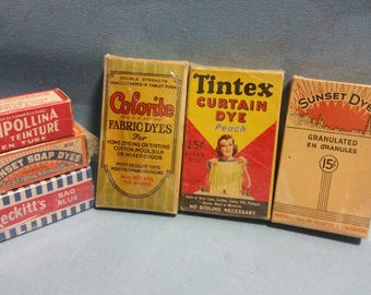 Vintage Dye Boxes, Lot of 6 Dyes, Full Boxes 1940's, Great for Vintage Store Display or Use