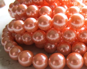 Shell Pearl Beads 10mm Lustrous Nectarine Orange Smooth Rounds  - 8 inch Strand