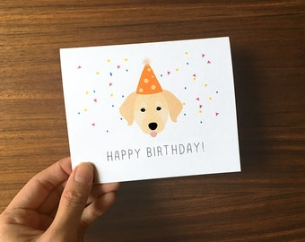 Dog Birthday Card, Golden Retriever Birthday Card, Cute Birthday Card, Dog Birthday, Labrador Birthday Card, Golden Retriever Card