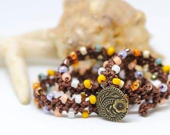 Boho chic crochet bracelet