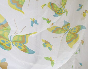 Sheer Twin Bed Spread with Butterflies Vintage Girls Room Decor