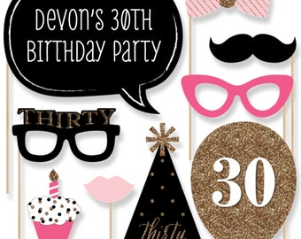 Chic 30th Birthday - Pink, Black, and Gold - Photo Booth Props - Adult Birthday Party Photobooth Kit with Custom Talk Bubble - 20 Pieces