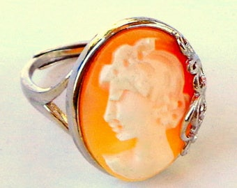 SALE, Hand Carved Cameo Ring, Adjustable Sterling Silver Ring, Vintage Conch Shell Cameo, New Sterling Silver Ring, OOAK