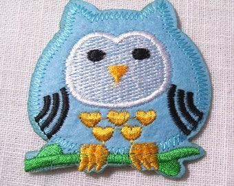 OWL OWL branch Blue * 6.5 x 6.5 cm * Applique badge patch embroidered iron - iron