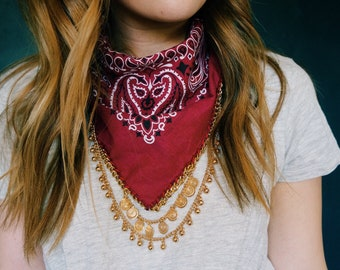 Red Bandana with Gold Chain | Festival Bandana | Fabric Necklace | Edgy Statement Necklace | Best Seller | Accessory | Boho Apparel