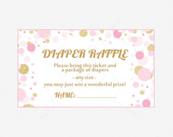 Pink and Gold Baby Shower Diaper Raffle Ticket- Diaper Raffle Sign - Diaper Raffle Cards - Diaper Raffle Insert Printable - Insert CB0003-pg
