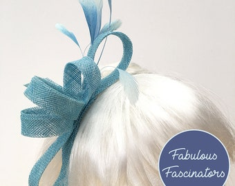 Light blue fascinator, baby blue fascinator, hairclip or hairband, perfect for weddings