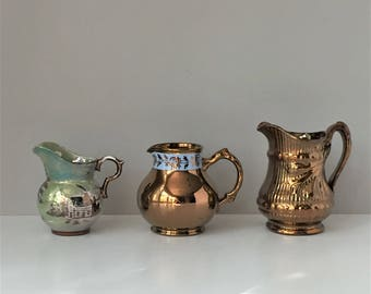 Copper Lusterware Pitchers, Vintage Lustreware, Cumbow Creamer, Gibson's England Creamer, Milk Pitcher, 1940s Tableware, Instant Collection