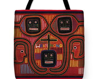 Kuna Indian Waka NoNo Design Tote Bag Gift - Kuna Indian Design Throw Pillow Gift - Waka NoNo Beach Tote Bag Gift - ReUsable Shopping Bag