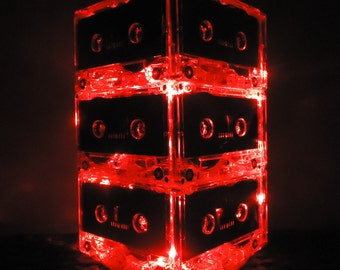 Red Cassette Tape Wedding Table Lighted Centerpiece