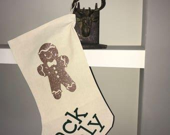 Christmas stocking, personalised stocking, gingerbread man stocking, stocking, baby stocking, first christmas stocking