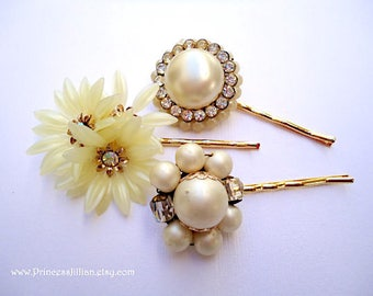 Vintage earring hair grips - Ivory cream pearl flowers clusters crystal rhinestone jeweled unique gold embellish decorative hair accessories