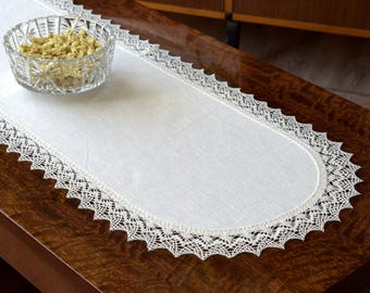 Lace edged linen table runner Off White dresser scarf for coffee table Housewarming gift Small oval tablecloth Natural linen gifts 37 x 13