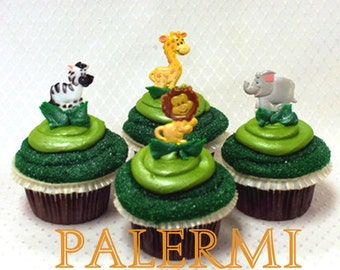 12 Zoo animals Cupcake Toppers Plastic, Jungle Safari Animals Cupcake Topper Picks, Zoo Animals Birthday Party