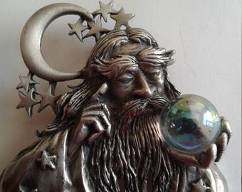 Vintage Wizard With Crystal Ball, vintage Jonette Jewelry Brooch/Pin