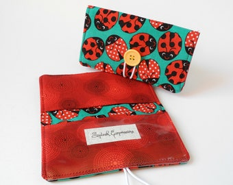 Checkbook Holder, Checkbook Cover, Checkbook Wallet, Passport Wallet, Fabric Cover, With Flap, Cute Check Book, Extra Pocket, Ladybugs