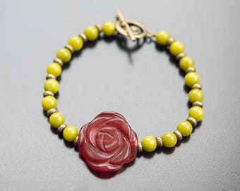 English Rose Bracelet - Red Rose, Red Jewelry, Flower Bracelet, Floral Bracelet, Antique Gold Beads, Gifts For Her, Mother's Day Gift
