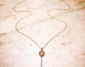 Ametrine necklace with antique gold