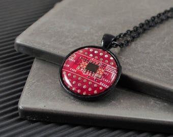 Circuit Board Necklace Red and Black, Wearable Technology, Upcycled Computer Jewelry, Motherboard Necklace for Men, Masculine Necklace Geek